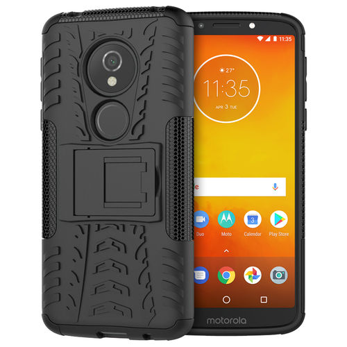 Dual Layer Rugged Tough Case for Motorola Moto E5 / G6 Play - Black